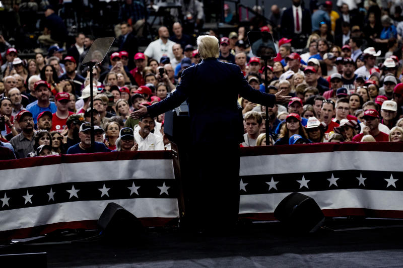 President Donald Trump addresses a Keep America Great Rally at the Monroe Civic Center in Monroe, La., on Wednesday, Nov. 6, 2019. (Anna Moneymaker/The New York Times)