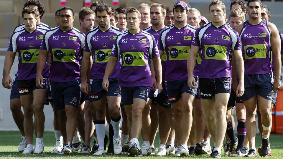 The Melbourne Storm, pictured here after being stripped of two premierships and three minor premierships.