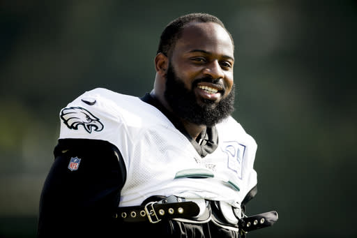 Philadelphia Eagles defensive tackle Fletcher Cox during practice at the NFL football team's training camp in Philadelphia, Tuesday, July 30, 2019. (AP Photo/Matt Rourke)