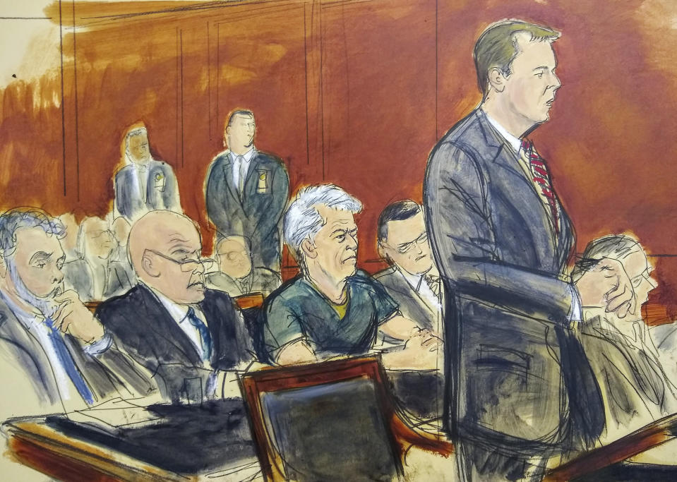 In this courtroom artist's sketch, defendant Jeffrey Epstein, center, listens as Assistant U.S. Attorney Alex Rossmiller, right, addresses the court during Epstein's arraignment, Monday, July 8, 2019 in New York. Epstein pleaded not guilty to federal sex trafficking charges. The 66-year-old is accused of creating and maintaining a network that allowed him to sexually exploit and abuse dozens of underage girls from 2002 to 2005. (Elizabeth Williams via AP)