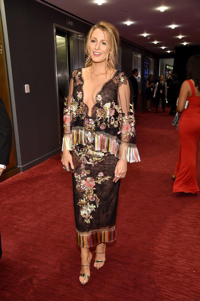 <p>Blake wears a fringed Marchesa dress of dreams at the Time 100 Gala. While we're not sure if we could pull it off, she looks amazing as always.<br><i>[Photo: Getty]</i> </p>