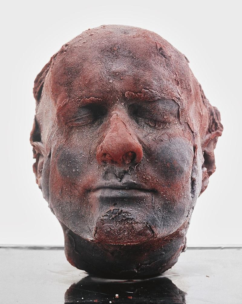 Quinn previously created a self-portrait bust by using ten pints of his own frozen blood.