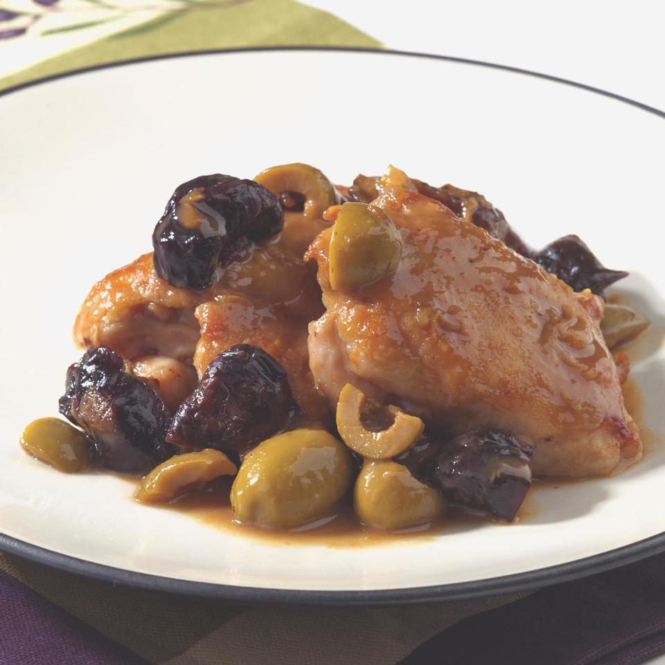 """<p>The delicious combination of sweet, tart and savory flavors Makes a simple dish the star of a weeknight meal. Serve with whole-wheat couscous, to soak up the tasty sauce. <a href=""""http://www.eatingwell.com/recipe/248872/chicken-with-green-olives-prunes/"""" rel=""""nofollow noopener"""" target=""""_blank"""" data-ylk=""""slk:View recipe"""" class=""""link rapid-noclick-resp""""> View recipe </a></p>"""