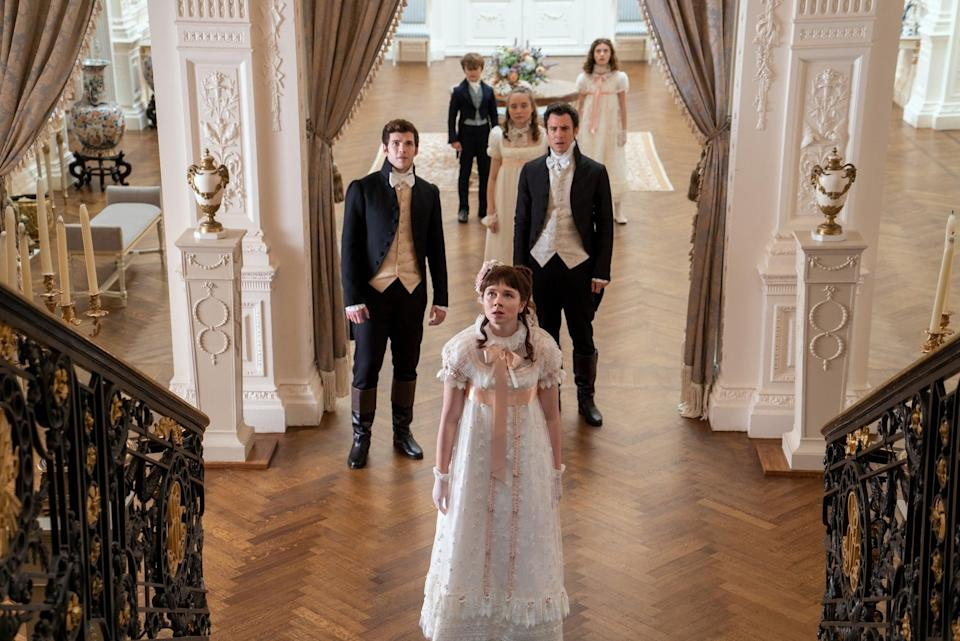<p>Poor Francesca, we barely know you! Francesca (seen in the mid-foreground here, just between Colin and Benedict) is barely a presence in season one, but eventually, she gets her own story in Quinn's sixth Bridgerton novel. <strong>When He Was Wicked</strong>, which will be the basis of Francesca's season, tells the story of her romance with Michael Stirling, her close friend and the cousin of her late first husband. </p>