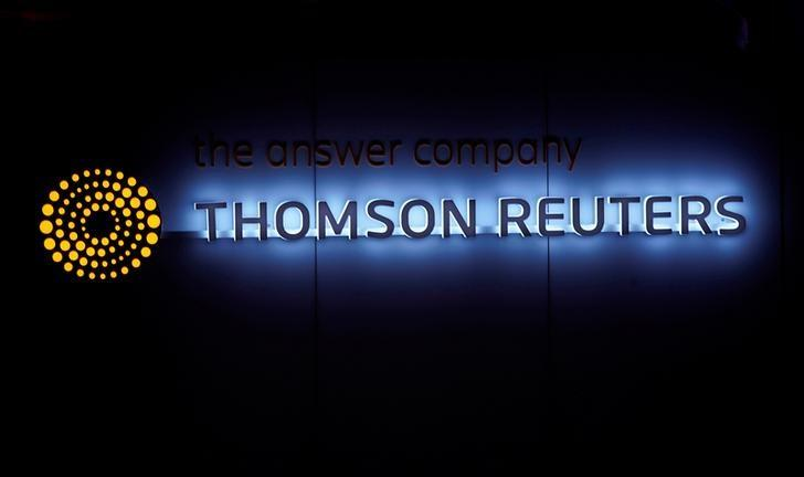A Thomson Reuters logo is pictured on a building during the World Economic Forum (WEF) annual meeting in Davos