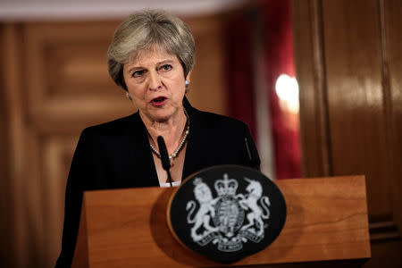 Britain's Prime Minister Theresa May makes a statement on Brexit negotiations with the European Union at Number 10 Downing Street, London September 21, 2018 . Jack Taylor/Pool via Reuters