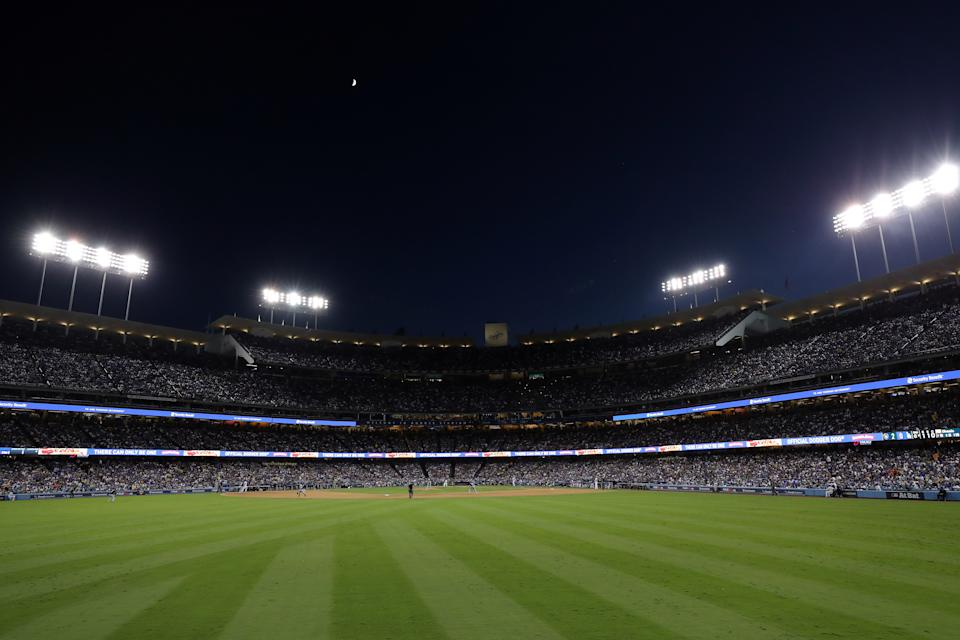 LOS ANGELES, CA - OCTOBER 15: A general view during Game 3 of the NLCS between the Milwaukee Brewers and the Los Angeles Dodgers at Dodger Stadium on Monday, October 15, 2018 in Los Angeles, California. (Photo by Alex Trautwig/MLB via Getty Images)