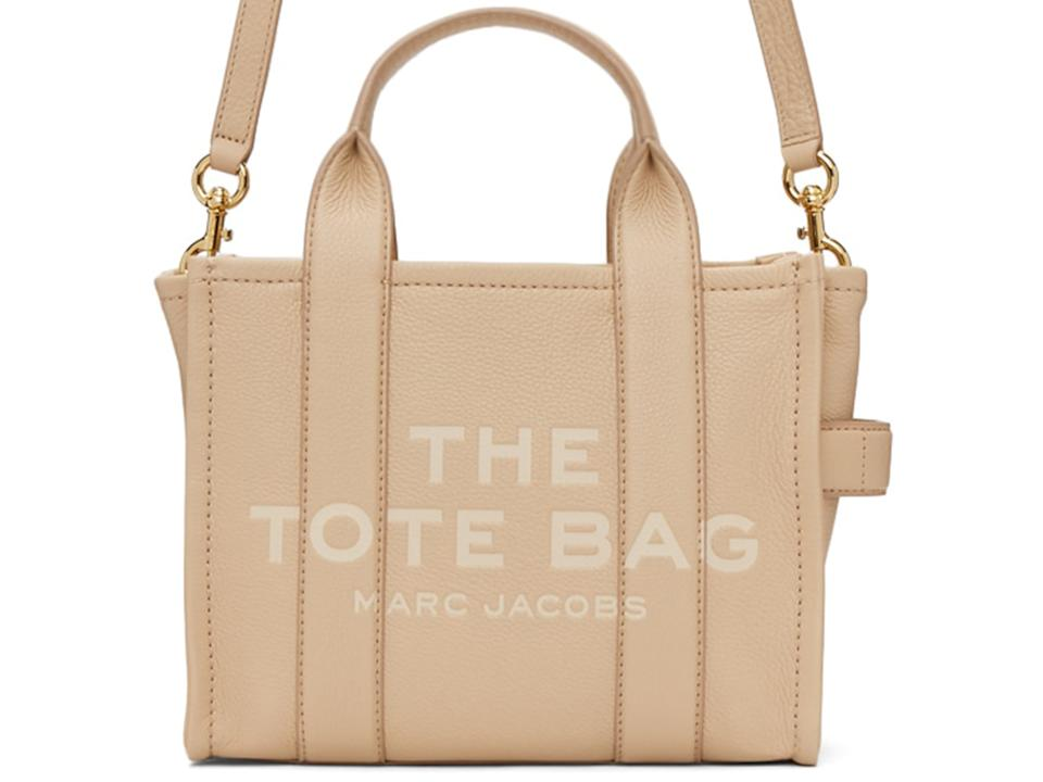 MARC JACOBS Beige Leather 'The Mini Traveler' Tote Bag