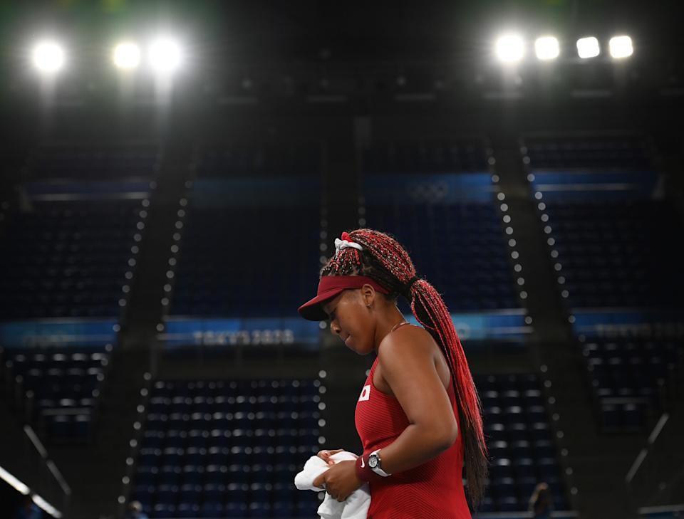 Japan's Osaka Naomi reacts during the women's singles third round match of tennis at Tokyo 2020 Olympic Games in Tokyo, Japan, July 27, 2021. (Photo by Dai Tianfang/Xinhua via Getty Images)