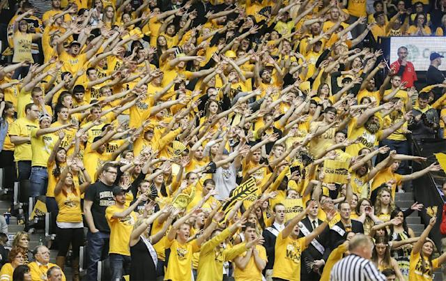 Wichita State fans try and bother Drake as they shoot free throws against the Shockers in the second half at Koch Arena Saturday Feb. 22, 2014. in Wichita, Kan. (AP Photo/The Wichita Eagle, Fernando Salazar) LOCAL TV OUT; MAGS OUT; LOCAL RADIO OUT; LOCAL INTERNET OUT