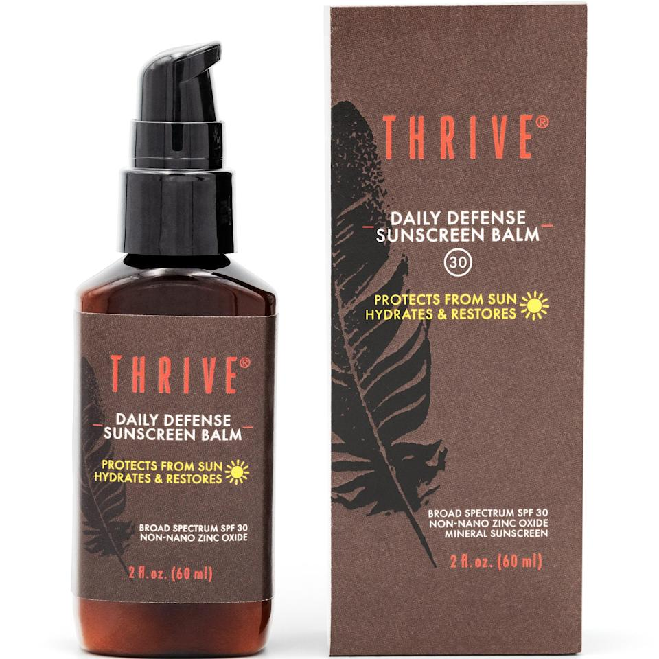"<h2>Thrive Natural Care Mineral Face Sunscreen SPF 30</h2> <br><strong>Best: Face Sunscreen</strong><br>This under-the-radar, reef-safe sunscreen is crafted right here in the U.S. from all-natural and vegan-friendly ingredients. The lightweight yet hydrating formula (a blend of zinc and revitalizing antioxidants) provides daily SPF protection while also working to reduce skin irritation and redness. Plus, proceeds from every purchase go towards supporting farms in Costa Rica that help to grow many of the nutrient-rich ingredients. <br><br><strong>The Hype:</strong> 4.9 out of 5 stars and 9 reviews on Walmart<br><br><strong>Reviewers Say:</strong> ""I was never a fan of SPF moisturizers until I found Thrive's Daily Defense Sunscreen Balm and now I wear it every day! I love the light feel that's not greasy, smells great and protects my skin while keeping it moisturized. Works as a great primer under makeup too!""<br><br><strong>Deals: </strong>Save an extra<strong> 22% off</strong> at <strong><a href=""https://www.walmart.com/ip/THRIVE-Natural-Mineral-Face-Sunscreen-SPF-30-2-Oz-Lightweight-Non-greasy-Clear-Zinc-Sunblock-Facial-Moisturizer-Antioxidants-Vegan-Made-USA/469028309"" rel=""nofollow noopener"" target=""_blank"" data-ylk=""slk:Walmart"" class=""link rapid-noclick-resp"">Walmart</a></strong><br><br><strong>Thrive Natural Care</strong> Mineral Face Sunscreen SPF 30, 2 Oz, $, available at <a href=""https://go.skimresources.com/?id=30283X879131&url=https%3A%2F%2Fwww.walmart.com%2Fip%2FTHRIVE-Natural-Mineral-Face-Sunscreen-SPF-30-2-Oz-Lightweight-Non-greasy-Clear-Zinc-Sunblock-Facial-Moisturizer-Antioxidants-Vegan-Made-USA%2F469028309"" rel=""nofollow noopener"" target=""_blank"" data-ylk=""slk:Walmart"" class=""link rapid-noclick-resp"">Walmart</a><br><br><br><br><br><br><br><br>"