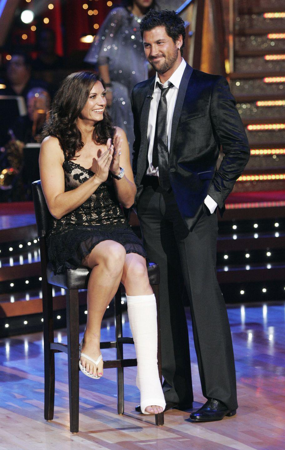 "<p>The Olympic gold medalist and beach volleyball champ suffered a torn Achilles tendon while practicing the jive during season seven. She could no longer dance and was forced to withdraw from the competition, per <em><a href=""https://people.com/tv/injury-forces-misty-may-treanor-to-leave-dancing/"" rel=""nofollow noopener"" target=""_blank"" data-ylk=""slk:People"" class=""link rapid-noclick-resp"">People</a></em>. She had surgery to repair her Achilles and appeared on the show in a leg cast and with crutches. </p>"
