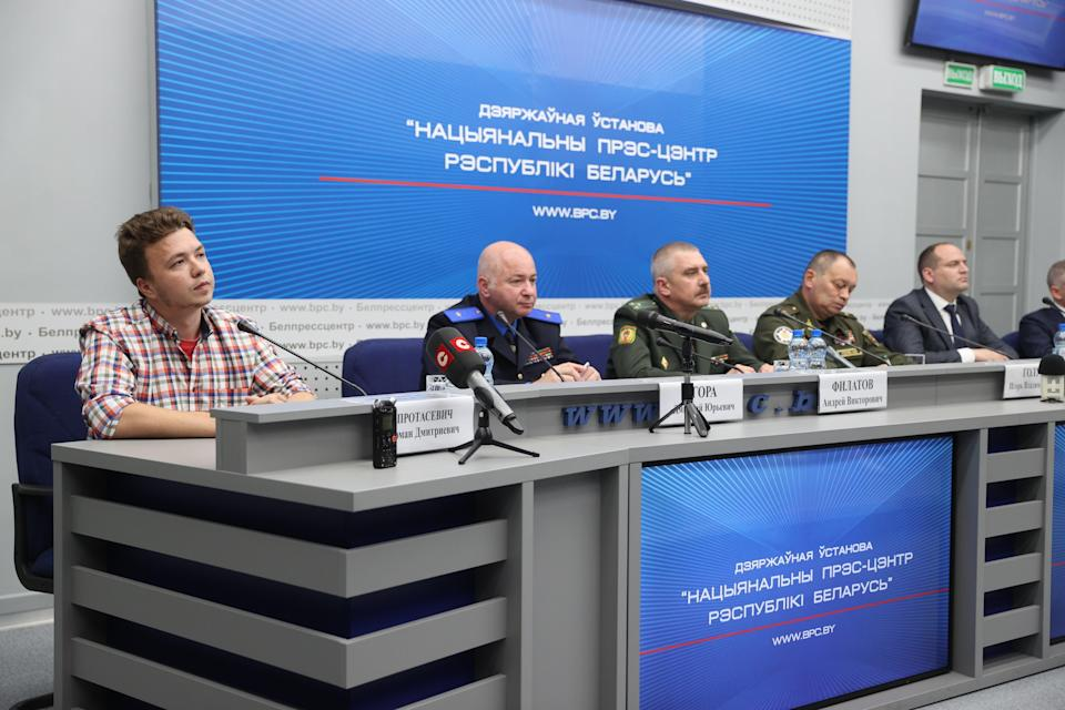 Protasevich said he was speaking freely at the press conference (Anadolu/Getty)