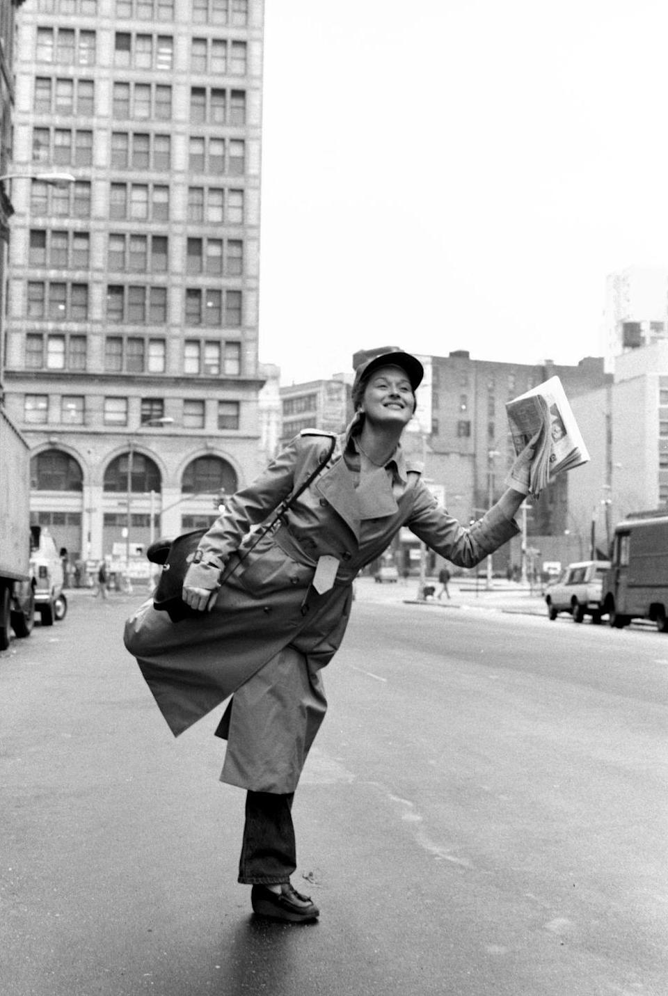 <p>Meryl Streep hailing a cab outside the Public Theater, wearing a baseball cap and trench coat, feels like a forever mood.</p>