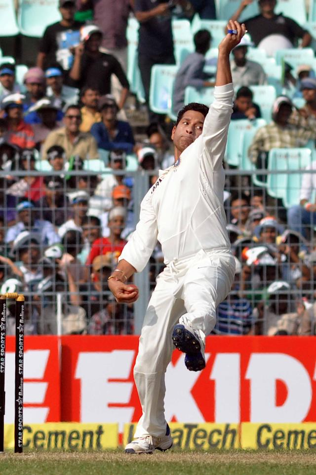 Indian cricketer Sachin Tendulkar in action during the 1st day of the 1st test match between India and West Indies at Eden Gardens, Kolkata on Nov. 6, 2013. (Photo: IANS)