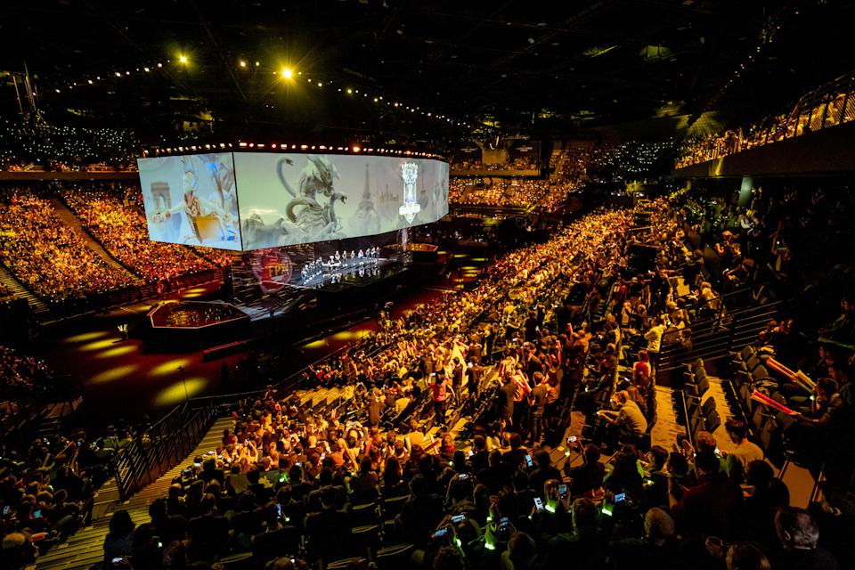 PARIS, FRANCE - NOVEMBER 10: General view inside the arena during the opening ceremony ahead of the 2019 League of Legends World Championships at AccorHotels Arena on November 10, 2019 in Paris, France. (Photo by Bartosz Plotka/Riot Games Inc. via Getty Images)