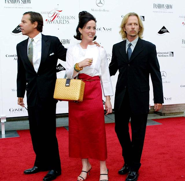 Kate Spade with her husband, Andy, left, and David Spade, right, attend the American Fashion Awards in 2001 in New York City. (Photo: Diane Cohen/Getty Images)