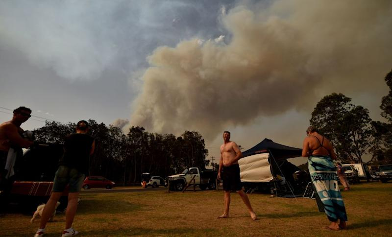 People were evacuated to Batemans Bay in New South Wales on January 4 amid bushfires.