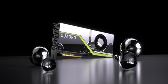 NVIDIA's Quadro RTX 8000 graphics card, surrounded by metal balls of various sizes