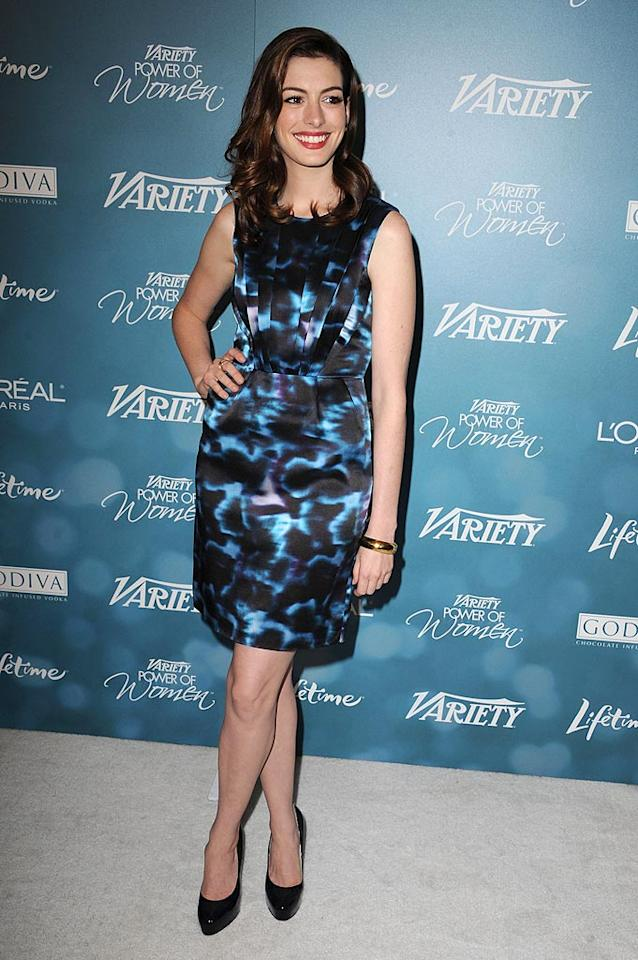 """""""Alice in Wonderland"""" actress Anne Hathaway was chic in a psychedelic-print frock and classic black heels. Steve Granitz/<a href=""""http://www.wireimage.com"""" target=""""new"""">WireImage.com</a> - September 30, 2010"""