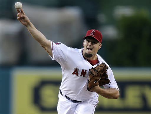 Los Angeles Angels starting pitcher Joe Blanton throws against the Minnesota Twins during the first inning of a baseball game on Monday, July 22, 2013, in Anaheim, Calif. (AP Photo/Jae C. Hong)