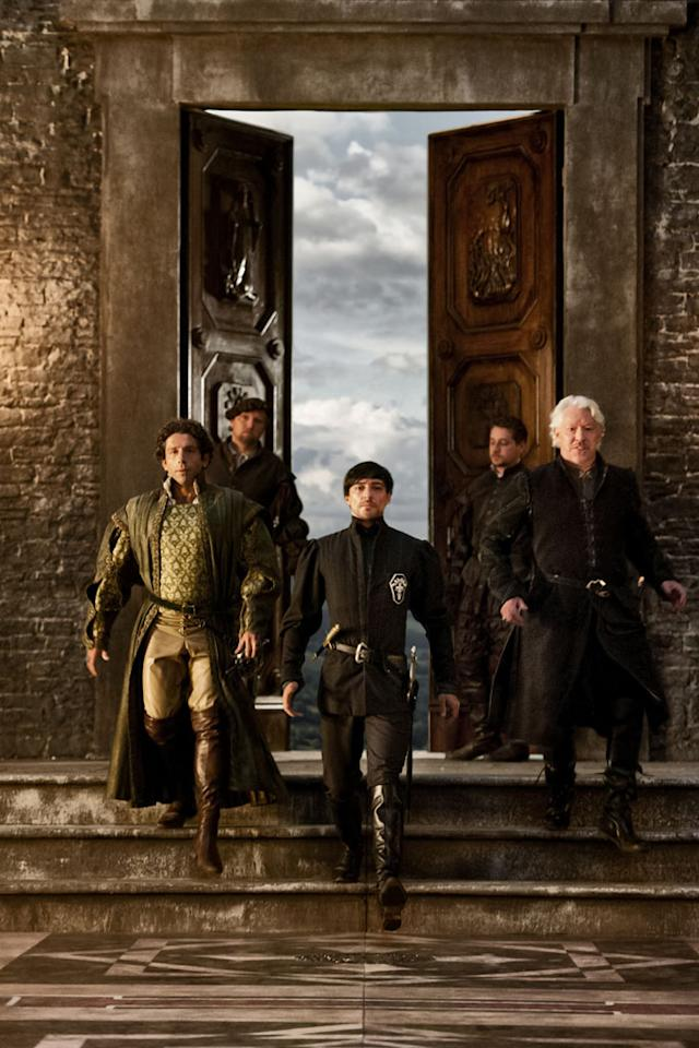 "Francesco Pazzi (Elliot Levey), Lupo Mecuri (Nick Dunning), and Riario (Blake Ritson) in Starz's ""Da Vinci's Demons."""
