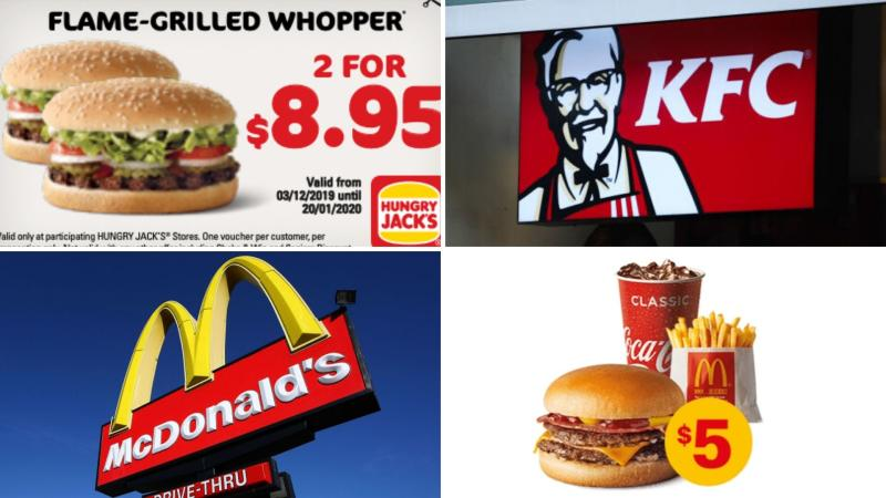 Clockwise from top left: a Hungry Jack's voucher, a KFC sign, a Double Bacon n Cheese meal and a McDonald's sign.