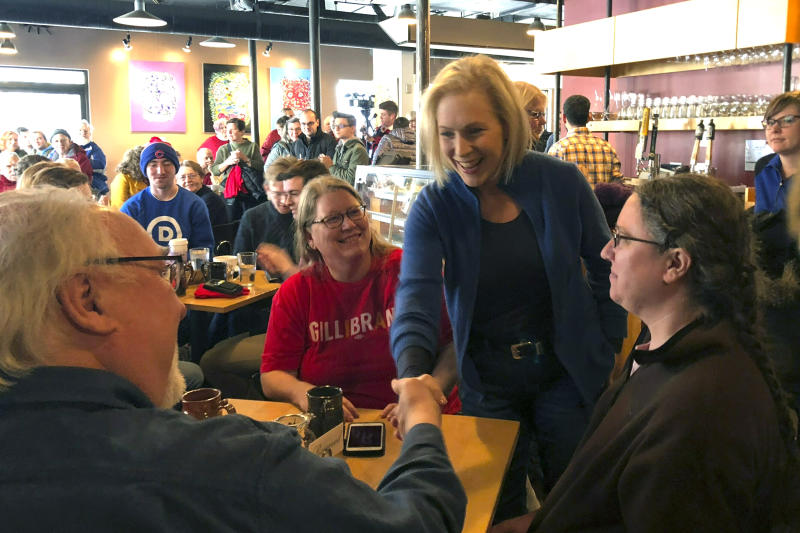 Sen. Kirsten Gillibrand, D-N.Y. greets patrons at Stomping Grounds Cafe in Ames, Iowa, on Saturday, Jan. 19, 2019. Gillibrand continued her first trip to the leadoff caucus state since announcing the formation of an exploratory committee to seek the 2020 Democratic presidential nomination.(AP Photo/Juana Summers)