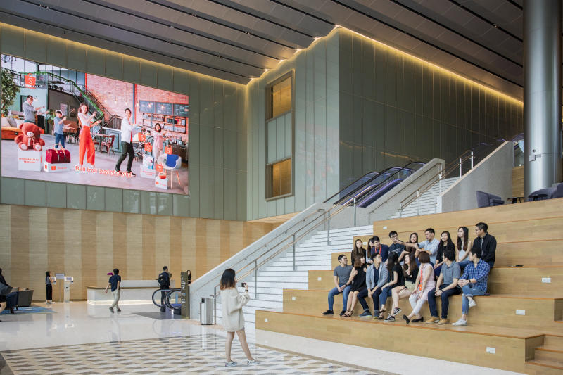 The lobby of the new Shopee headquarters in Singapore. (PHOTO: Don Wong for Yahoo News Singapore)