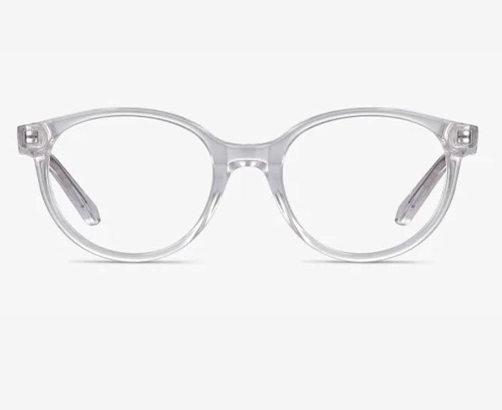 """These <a href=""""https://fave.co/32N8L8L"""" rel=""""nofollow noopener"""" target=""""_blank"""" data-ylk=""""slk:clear acrylic kids computer glasses"""" class=""""link rapid-noclick-resp"""">clear acrylic kids computer glasses</a> come in four colors. Find them for $32 at <a href=""""https://fave.co/32N8L8L"""" rel=""""nofollow noopener"""" target=""""_blank"""" data-ylk=""""slk:EyeBuyDirect"""" class=""""link rapid-noclick-resp"""">EyeBuyDirect</a>."""