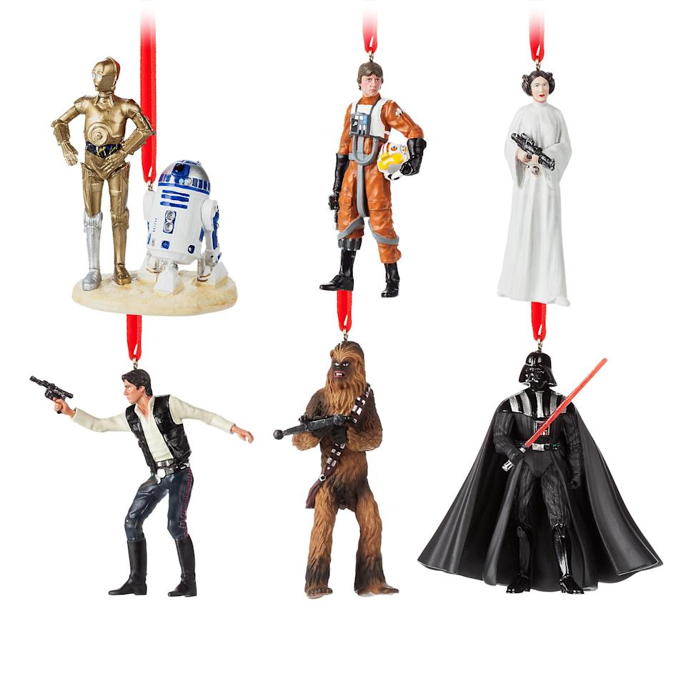 <p>Have your own <em>Star Wars Holiday Special</em> with this limited-edition set of six ornaments featuring <em>A New Hope</em> characters: Luke, Leia, Han, Chewie, Darth Vader, and R2-D2/C-3PO. Available for $59.95, there will only be 2,700 of these sets available. (Credit: Disney Store) </p>