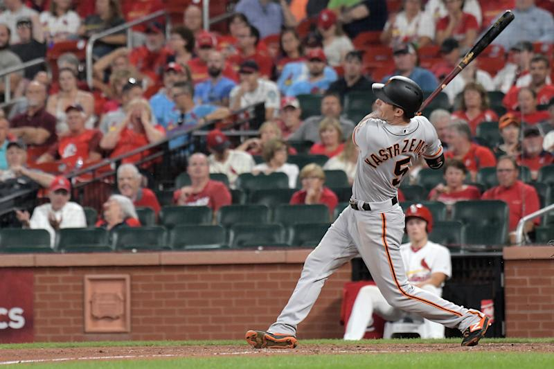 ST. LOUIS, MO. - SEPTEMBER 04: San Francisco Giants right fielder Mike Yastrzemski (5) doubles in the seventh inning during a Major League Baseball game between the San Francisco Giants and the St. Louis Cardinals on September 04, 2019, at Busch Stadium, St. Louis, MO. (Photo by Keith Gillett/Icon Sportswire via Getty Images)