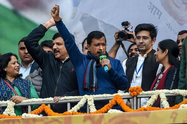 Aam Aadmi Party chief Arvind Kejriwal speaks to his supporters at the party headquarters in New Delhi on February 11, 2020.