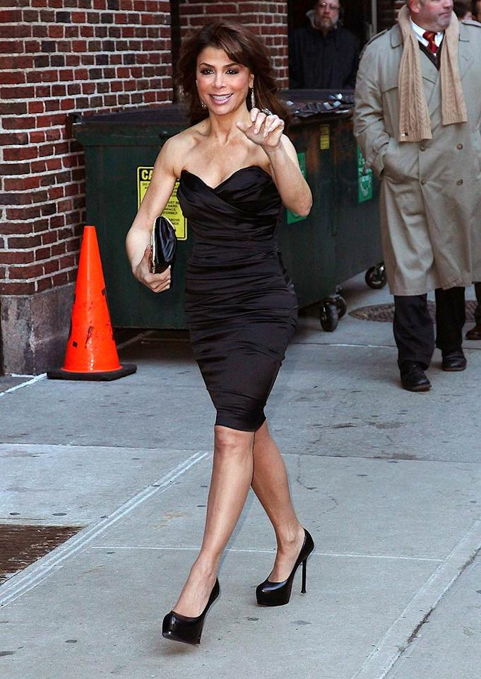 """Paula Abdul wore a LBD and matching platform pumps while visiting """"Late Show With David Letterman"""" in an effort to promote her new show, """"Live to Dance."""" What do you make of the 48-year-old's look? Hot or not? Jeffrey Ufberg/<a href=""""http://www.wireimage.com"""" target=""""new"""">WireImage.com</a> - January 3, 2011"""