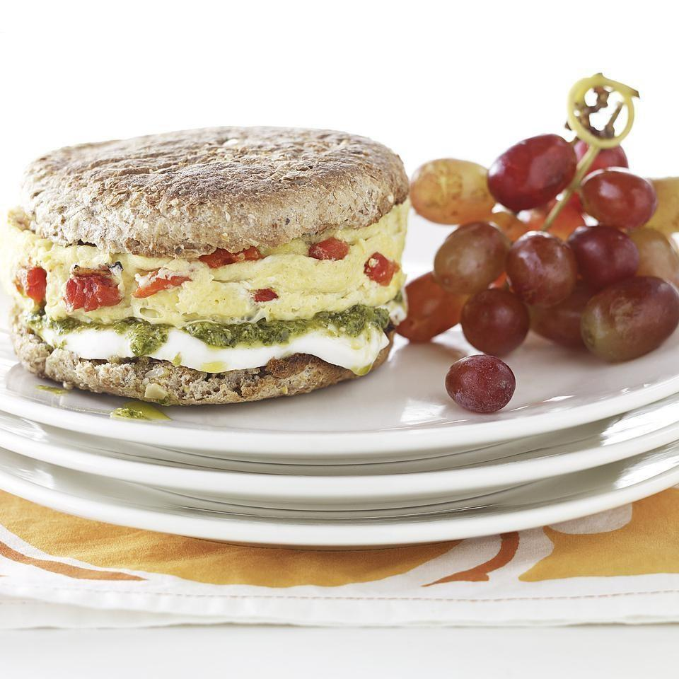 <p>This healthy vegetarian breakfast egg-sandwich recipe is a delicious way to use up pesto and fresh mozzarella cheese and it's ready in just 5 minutes.</p>