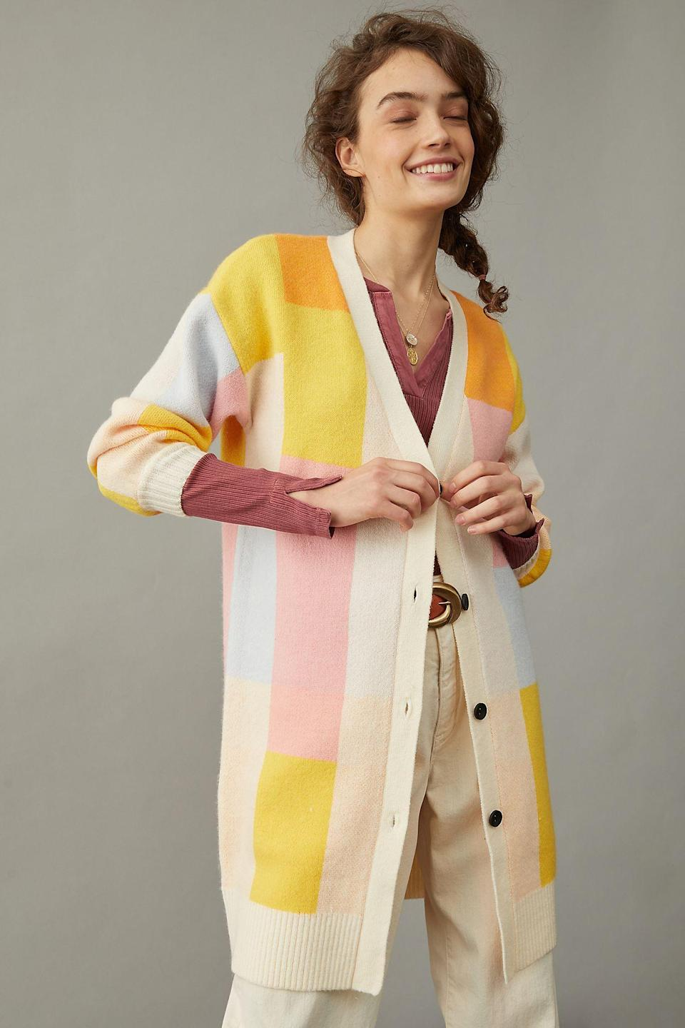 """<br><br><strong>Amadi</strong> Lexie Colorblocked Cardigan, $, available at <a href=""""https://go.skimresources.com/?id=30283X879131&url=https%3A%2F%2Fwww.anthropologie.com%2Fshop%2Flexie-colorblocked-cardigan"""" rel=""""nofollow noopener"""" target=""""_blank"""" data-ylk=""""slk:Anthropologie"""" class=""""link rapid-noclick-resp"""">Anthropologie</a>"""
