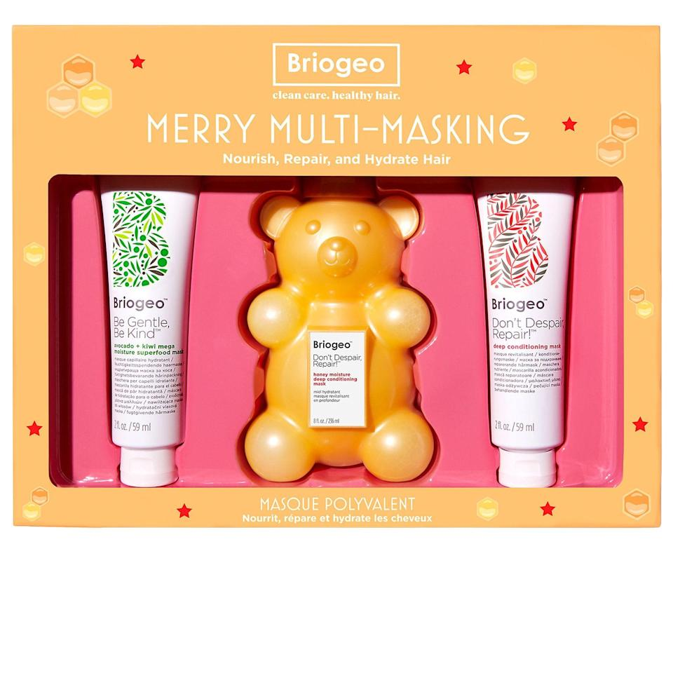 """<p><strong>Briogeo</strong></p><p>sephora.com</p><p><strong>$36.00</strong></p><p><a href=""""https://go.redirectingat.com?id=74968X1596630&url=https%3A%2F%2Fwww.sephora.com%2Fproduct%2Fbriogeo-merry-multi-masking-kit-dont-despair-repair-deep-conditioning-honey-bear-hair-mask-P461427&sref=https%3A%2F%2Fwww.goodhousekeeping.com%2Fholidays%2Fgift-ideas%2Fg1405%2Fgifts-for-her%2F"""" rel=""""nofollow noopener"""" target=""""_blank"""" data-ylk=""""slk:Shop Now"""" class=""""link rapid-noclick-resp"""">Shop Now</a></p><p>She can make the most of hibernation season by repairing her dry, damaged hair with Briogeo's mask trio. Together, all three products, including the cult-favorite Don't Despair, Repair!™ Honey Moisture Deep Conditioning Mask, bring life back to her hair, even restoring shine and softness.</p>"""