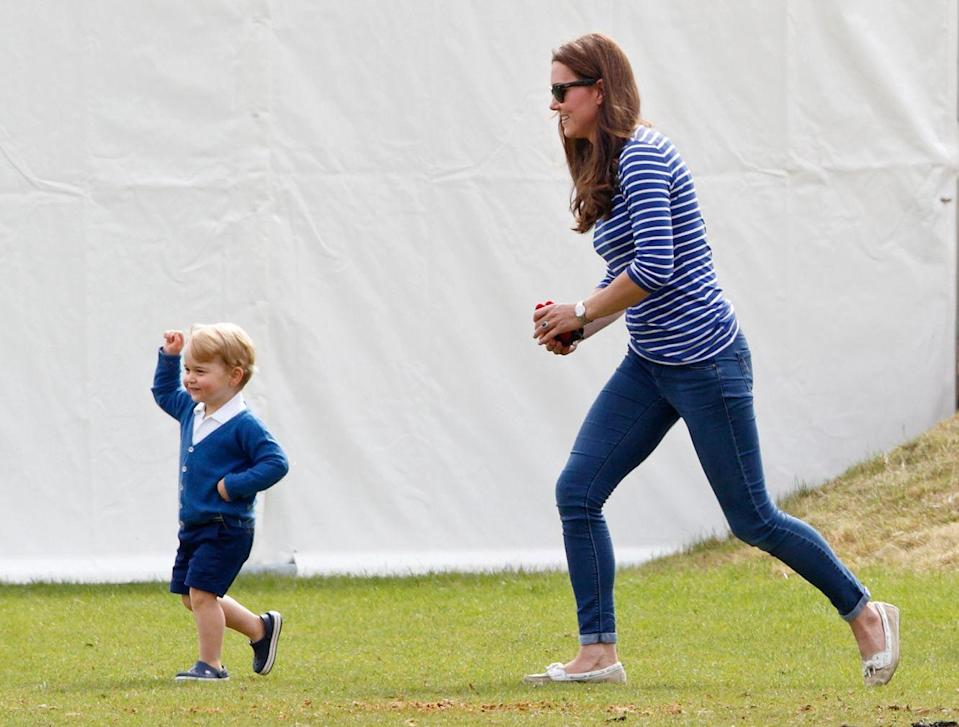 <p>Kate wore stripes to run after Prince George. The pair attended the Gigaset Charity Polo Match back in 2015, where Prince Harry and Prince William both participated. </p>