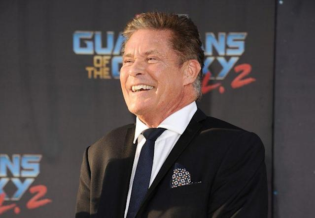 David Hasselhoff at the premiere of <em>Guardians of the Galaxy Vol. 2</em>. (Photo: Getty Images)