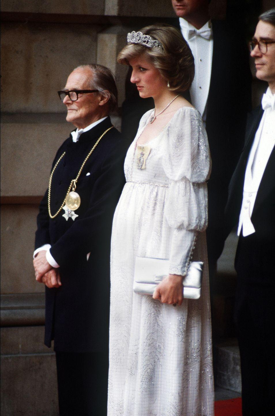 """<p>Empire waists became a favorite of Princess Diana's during her early stages of pregnancy. Though the style dates back all the way to the <a href=""""https://www.elle.com/fashion/personal-style/g28423/maternity-style-evolution/?slide=7"""" rel=""""nofollow noopener"""" target=""""_blank"""" data-ylk=""""slk:Baroque period"""" class=""""link rapid-noclick-resp"""">Baroque period</a> in the 1500's, it's a timeless choice for an ever-growing bump. </p>"""