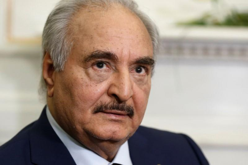 Libya's commander Khalifa Haftar meets Greek Foreign Minister Nikos Dendias at the Foreign Ministry in Athens