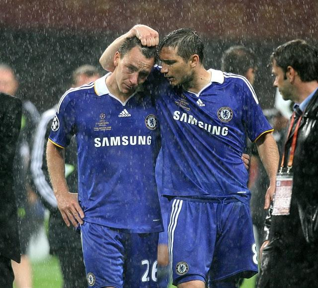 Frank Lampard consoled Terry after he slipped missing a penalty in the 2008 Champions League final (Martin Rickett/PA)