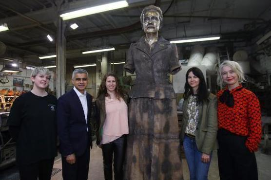 Technician Chloe Hughes, Sadiq Khan, Caroline Criado-Perez, artist Gillian Wearing, and Deputy Mayor for Culture and Creative Industries Justine Simons