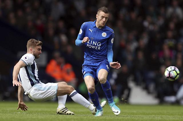 <p>West Bromwich Albion's James Morrison, left, and Leicester City's Jamie Vardy in action </p>