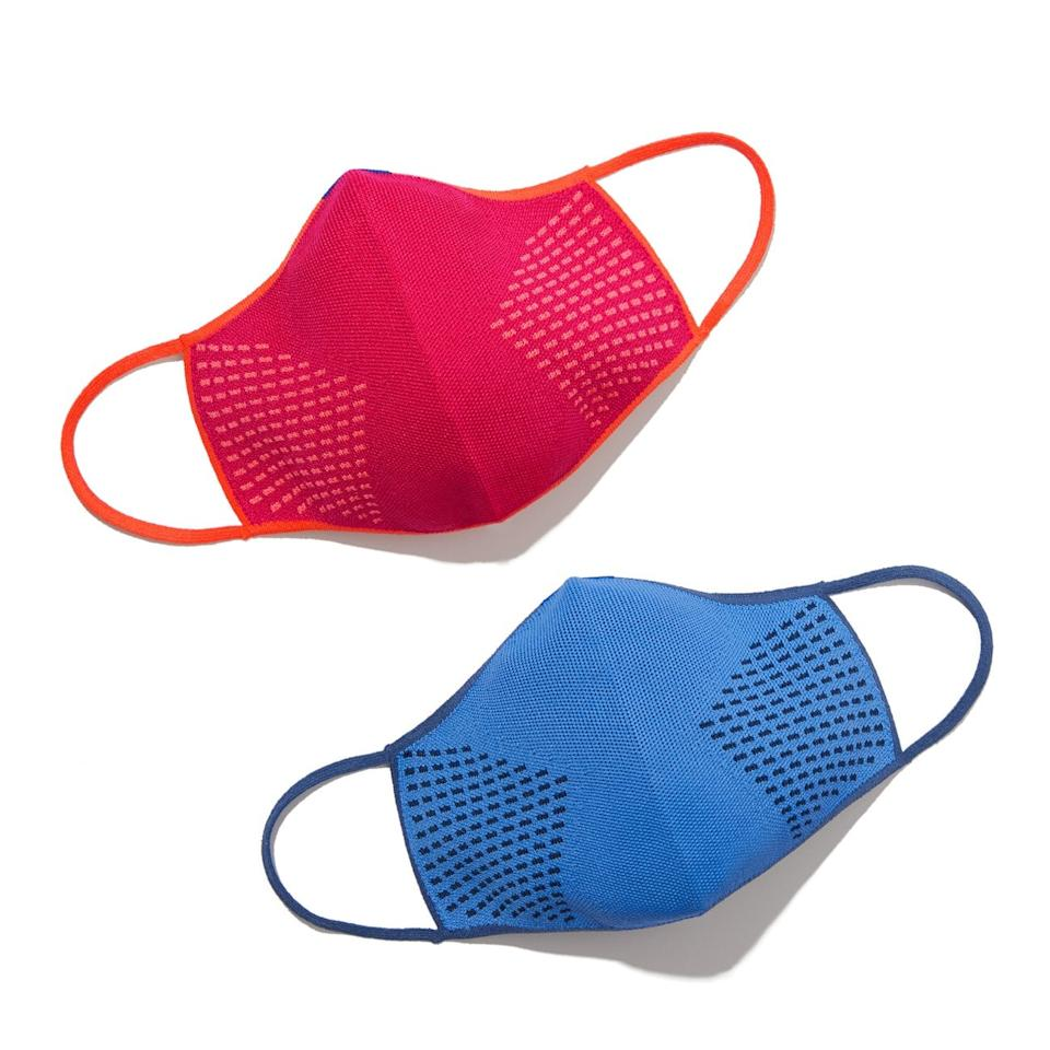 """<p><product href=""""https://rothys.com/masks/products/the-mask?color=blue-and-pink"""" target=""""_blank"""" class=""""ga-track"""" data-ga-category=""""Related"""" data-ga-label=""""https://rothys.com/masks/products/the-mask?color=blue-and-pink"""" data-ga-action=""""In-Line Links"""">Rothy's Face Masks</product> ($25, set of two) come in hot pink and blue.</p>"""