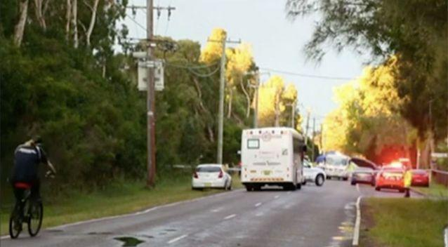 It's believed the young girl had just jumped off a bus when she raced across the Central Coast road. Source: 7 News