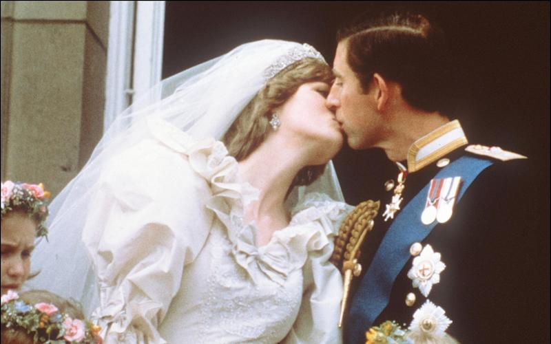 The Prince of Wales and Diana, Princess of Wales, on their wedding day - AFP