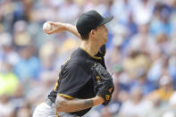 Pittsburgh Pirates starting pitcher Steven Brault throws to the Milwaukee Brewers during the first inning of a baseball game Wednesday, Aug. 4, 2021, in Milwaukee. (AP Photo/Jeffrey Phelps)
