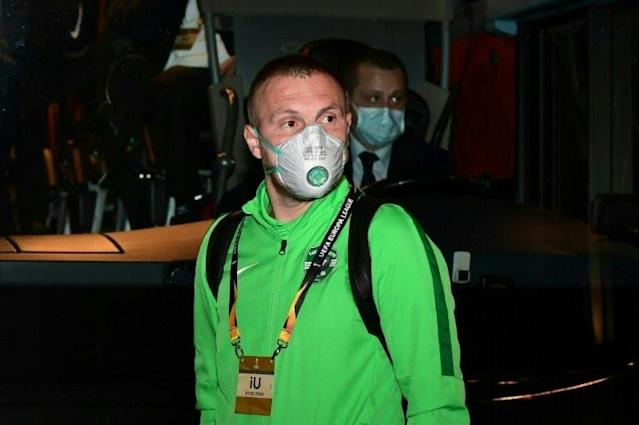 Ludogorets' defender Cosmin Iosif Moti arrives at the San Siro for a Europa League clash against Inter Milan. (AFP Photo/Miguel MEDINA)