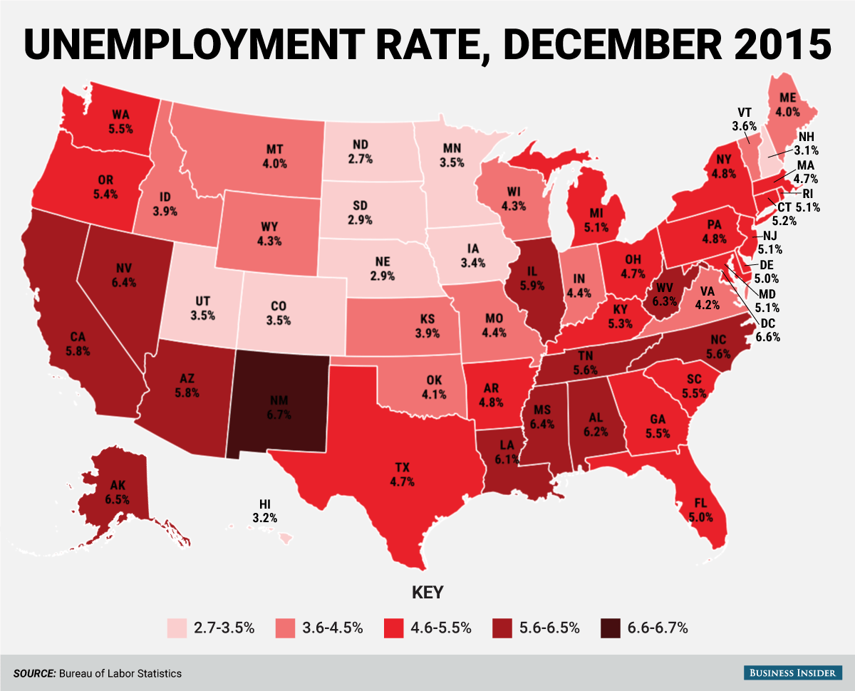 state unemployment rate map december 2015